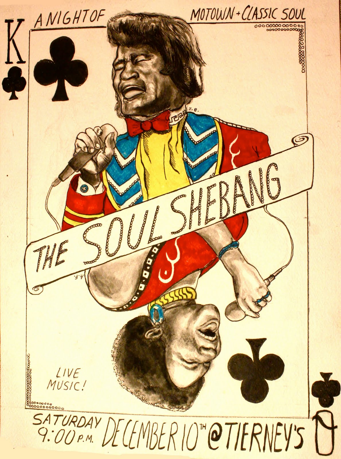 Drawn poster soul music Tavern Music Calendar:  Tierney's