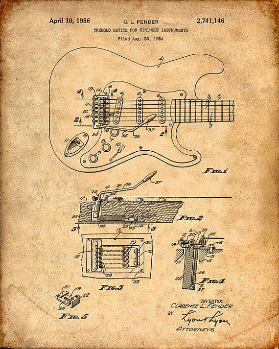 Drawn poster creative Best Print Fender Patent 20+