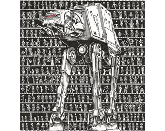 Drawn poster star wars Movie Force Art poster One