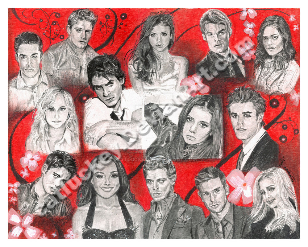 Drawn poster vampire diaries cast Catluckey Vampire Cast on by