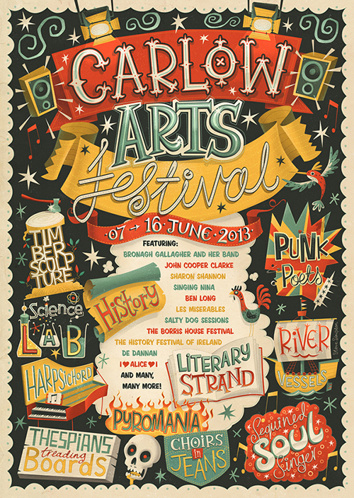 Drawn poster vintage festival Designs Carlow Festival with Hand