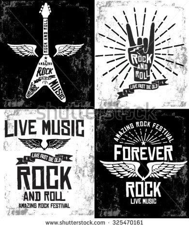 Drawn poster vintage festival Rock festival Rock set drawn