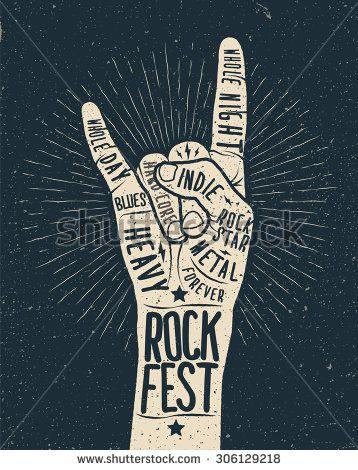 Drawn poster vintage festival Rock festivals on vector 25+