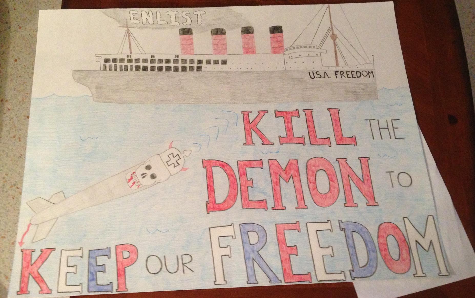 Drawn poster ww1 propaganda Rachel as were WWI demonization