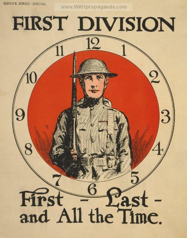 Drawn poster ww1 propaganda Division last around of poster