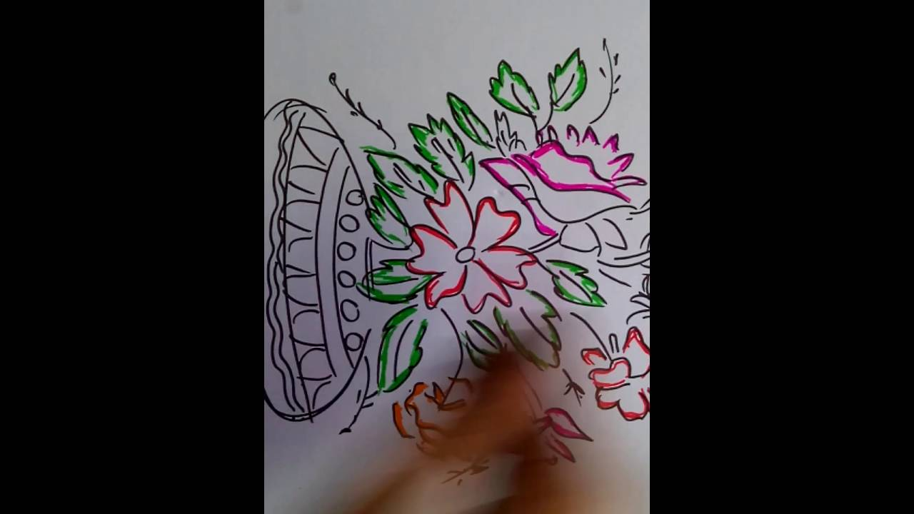 Drawn pot plant art Drawing FLOWER YouTube FLOWER how