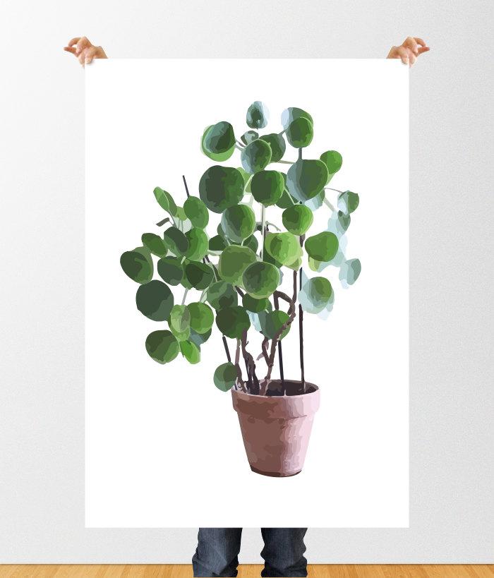 Drawn pot plant art Printable Digital Plant Plant Money