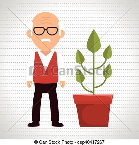 Drawn pot plant character Character character Vector Plant Free