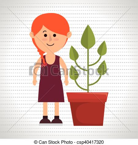 Drawn pot plant character Vector eps character plant of