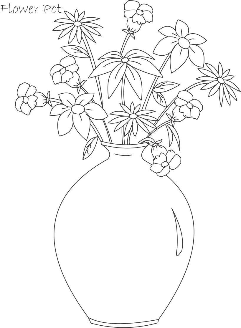 Drawn pot plant coloring page Word  printable flower Potted