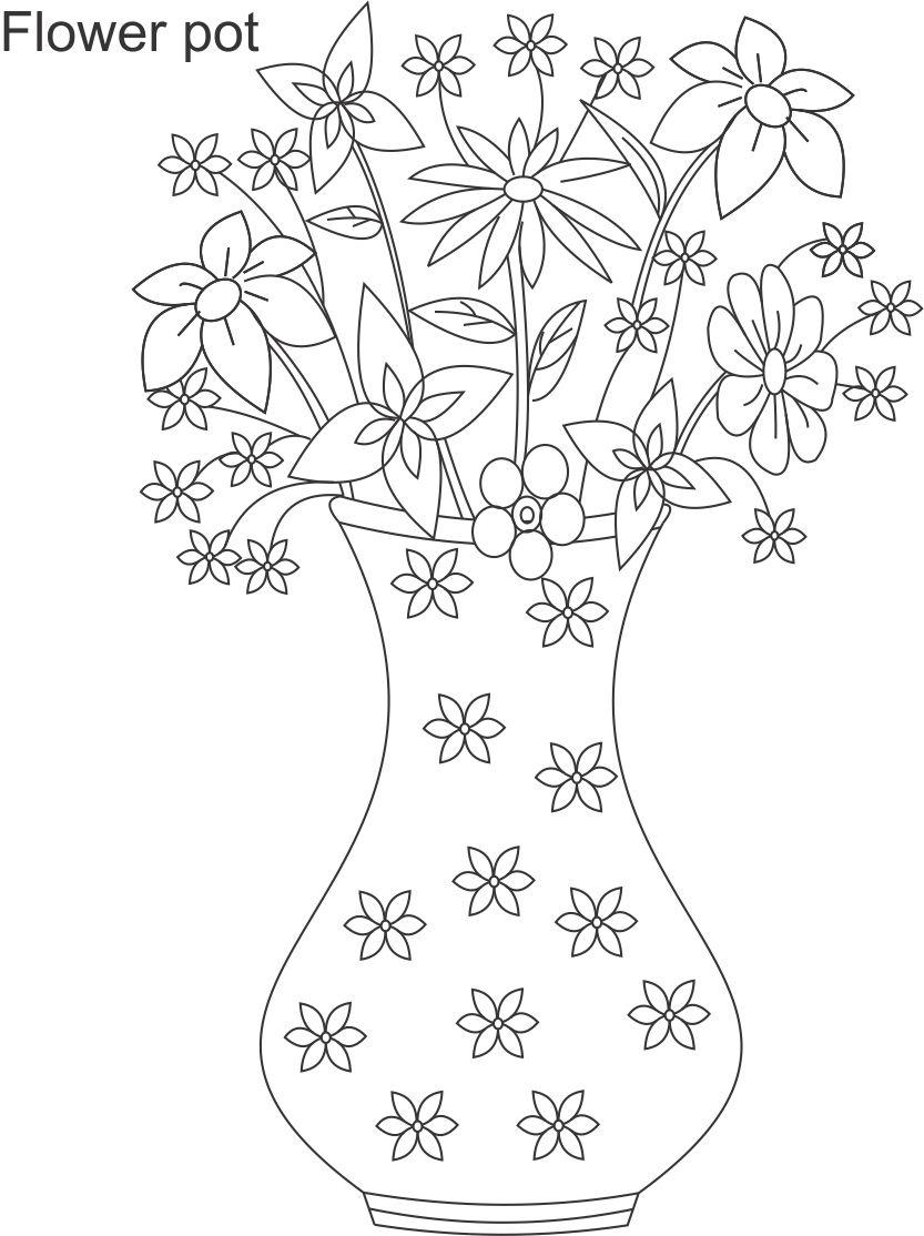 Drawn pot plant coloring page Page Page Flower Page Coloring
