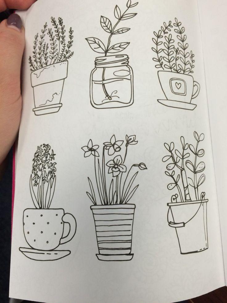 Drawn pot plant creative Doodles Plant drawing Flower Pinterest