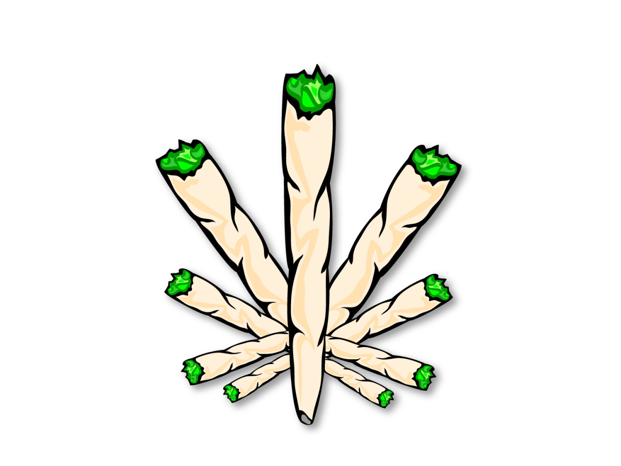Drawn pot plant joint Graphics Weed 420