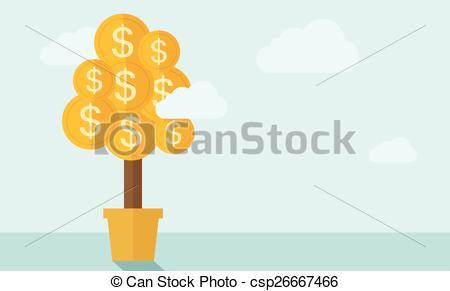 Drawn pot plant money sign Palette Plant with csp26667466 clouds
