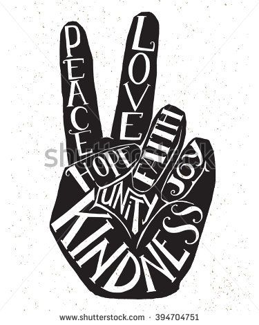 Drawn pot plant peace sign On ideas lettering showing peace