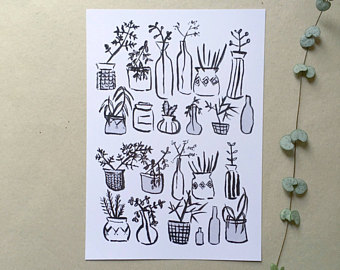 Drawn pot plant pothead // Drawing Succulent vessels and