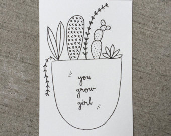 Drawn pot plant pothead // Funny Illustration Cacti //