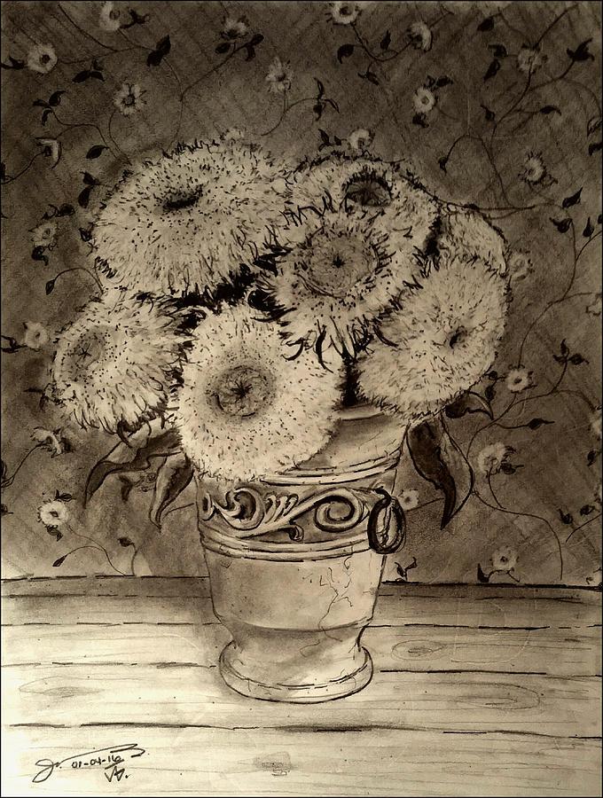 Drawn pot plant seven With Gonzalez by Jr Sunflowers