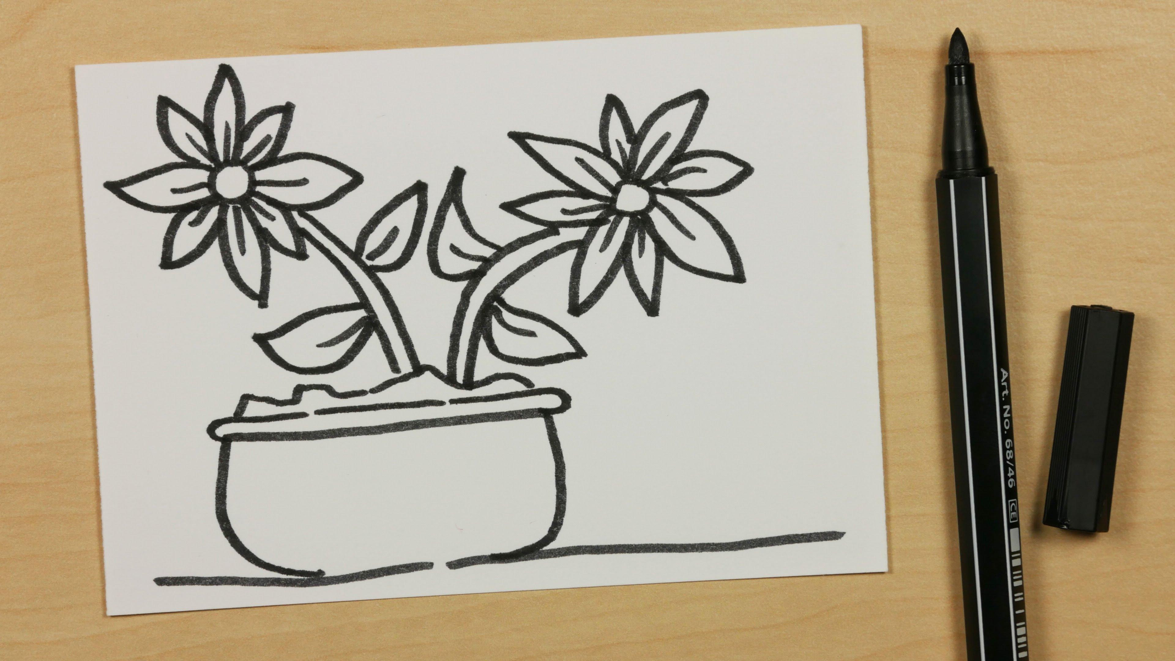 Drawn pot plant sketch Cartoon Cartoon with Kids Pot