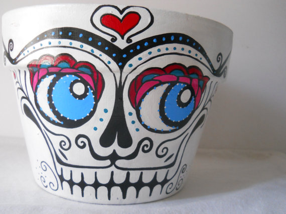 Drawn pot plant skull Art  Sugar Dead Skull