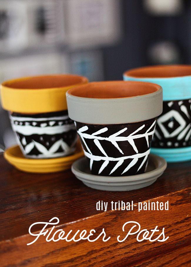 Drawn pot plant tribal Painted DIY  Tribal Flower