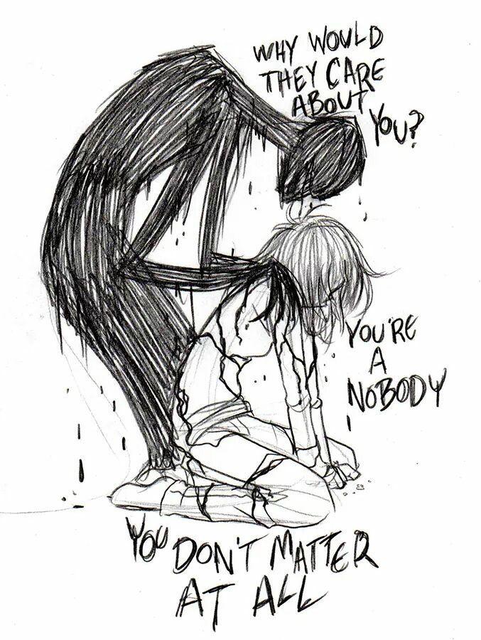 Drawn sad demon No on is 20+ darkness
