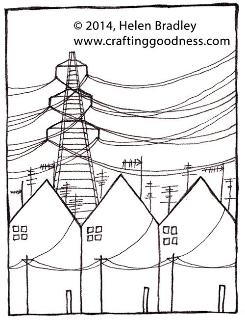 Drawn power line vector Pinterest by step this houses