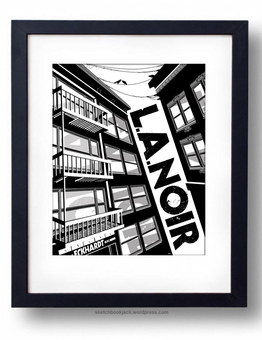 Drawn power line city los angeles Illustration black design print la_noir