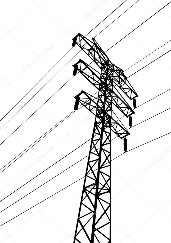 Drawn power line vector — pole Vector Electric #21064209