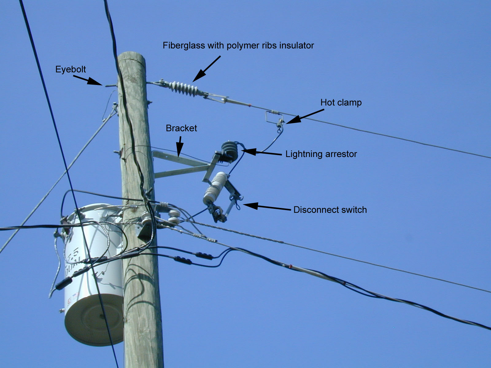 Drawn power line electric post Noise Find and on line