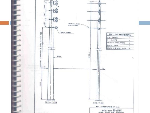 Drawn power line electric post Kv  72 & 33