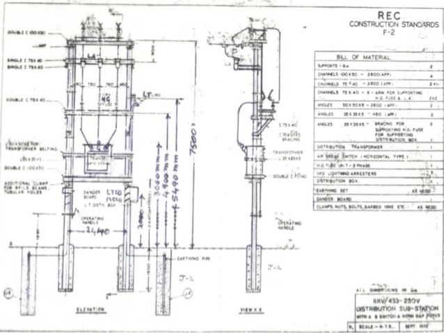 Drawn power line electric post Kv  1 & 33