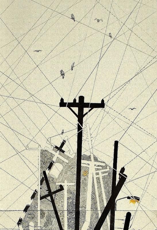 Drawn power line electric post Via Power poles Illustration Pinterest