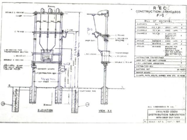 Drawn power line electric post 33 Illumination quarter; Desing of