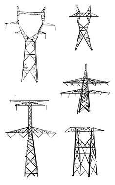Drawn power line electric tower On Architecture/Design/Symmetry  by Jaclyn