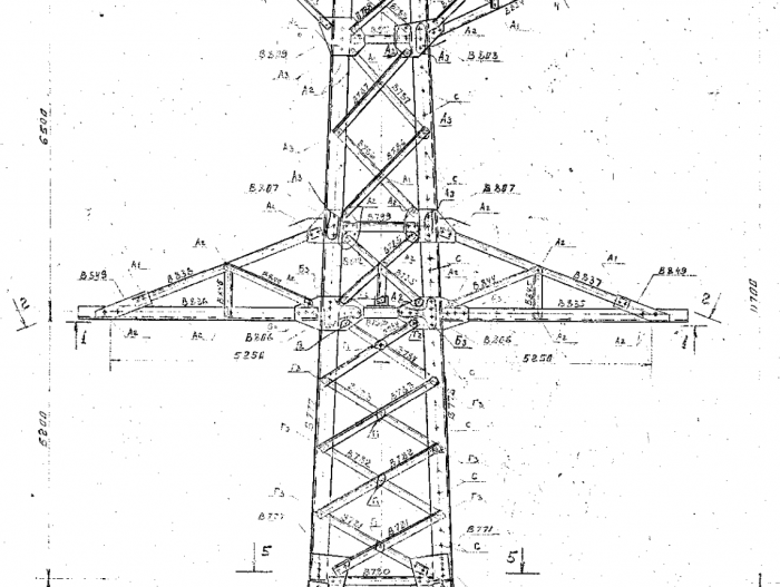Drawn power line electric tower Held centre Power V The