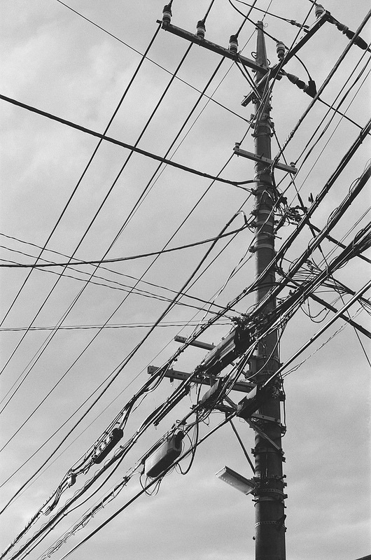 Drawn power line electrical pole Drawing  electric 電柱 pole)