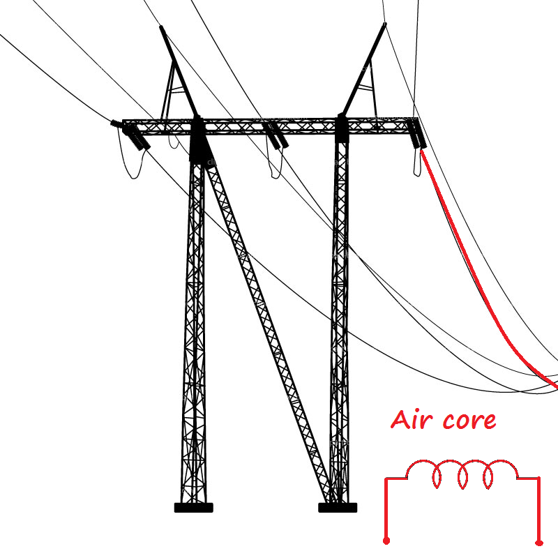 Drawn power line electrical transformer A the voltage  here