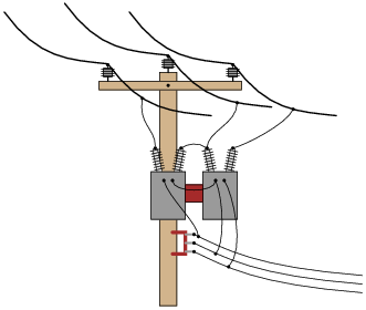 Drawn power line electrical transformer Pole Phase configuration etc power