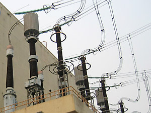 Drawn power line electrical transformer Substation on production: transmission Distribution