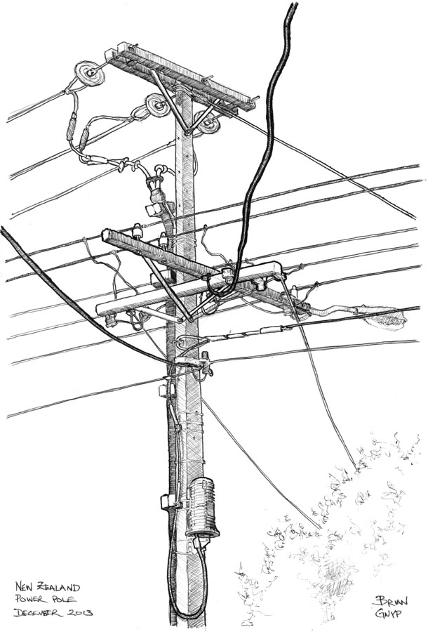 Drawn power line electricity pole Pole Drawings: Pole Sketchy Power