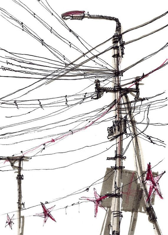 Drawn power line electricity pole Best Other Power SketchAway Lines