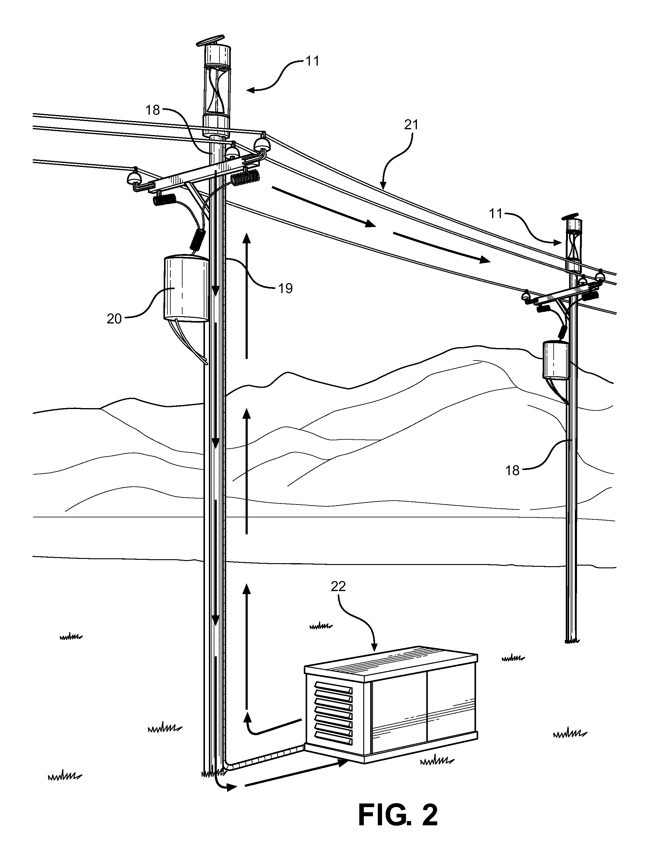 Drawn power line electricity pole Power Microgenerator Device US20120302228 Drawing