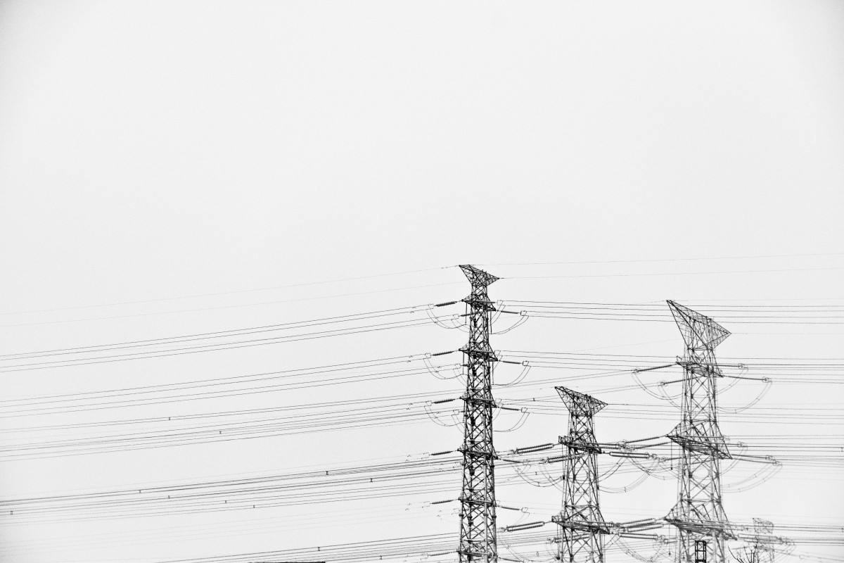 Drawn power line electricity pole White lighting electricity  monochrome