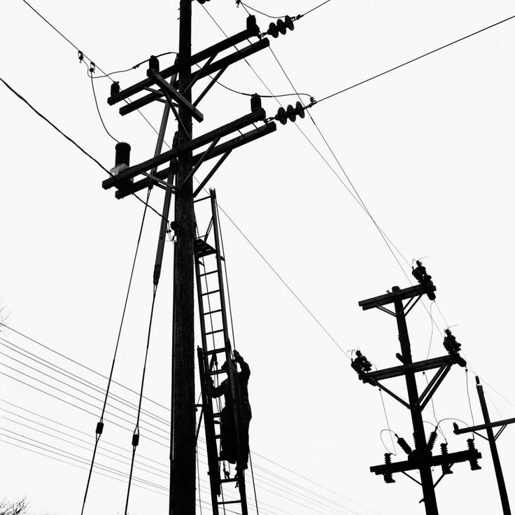 Drawn power line electricity pole On on electrical lines to