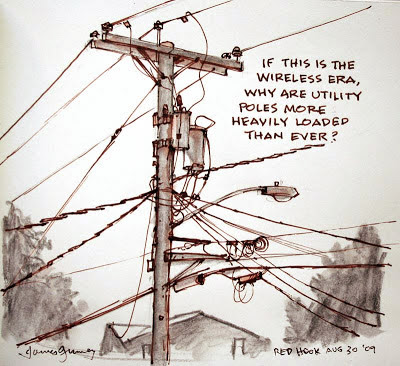 Drawn power line electricity pole Power with need require to