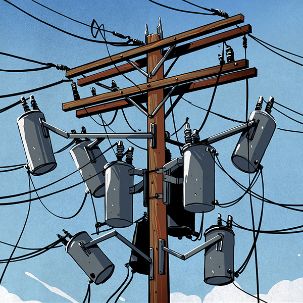 Drawn power line electricity pole The North American Guide A