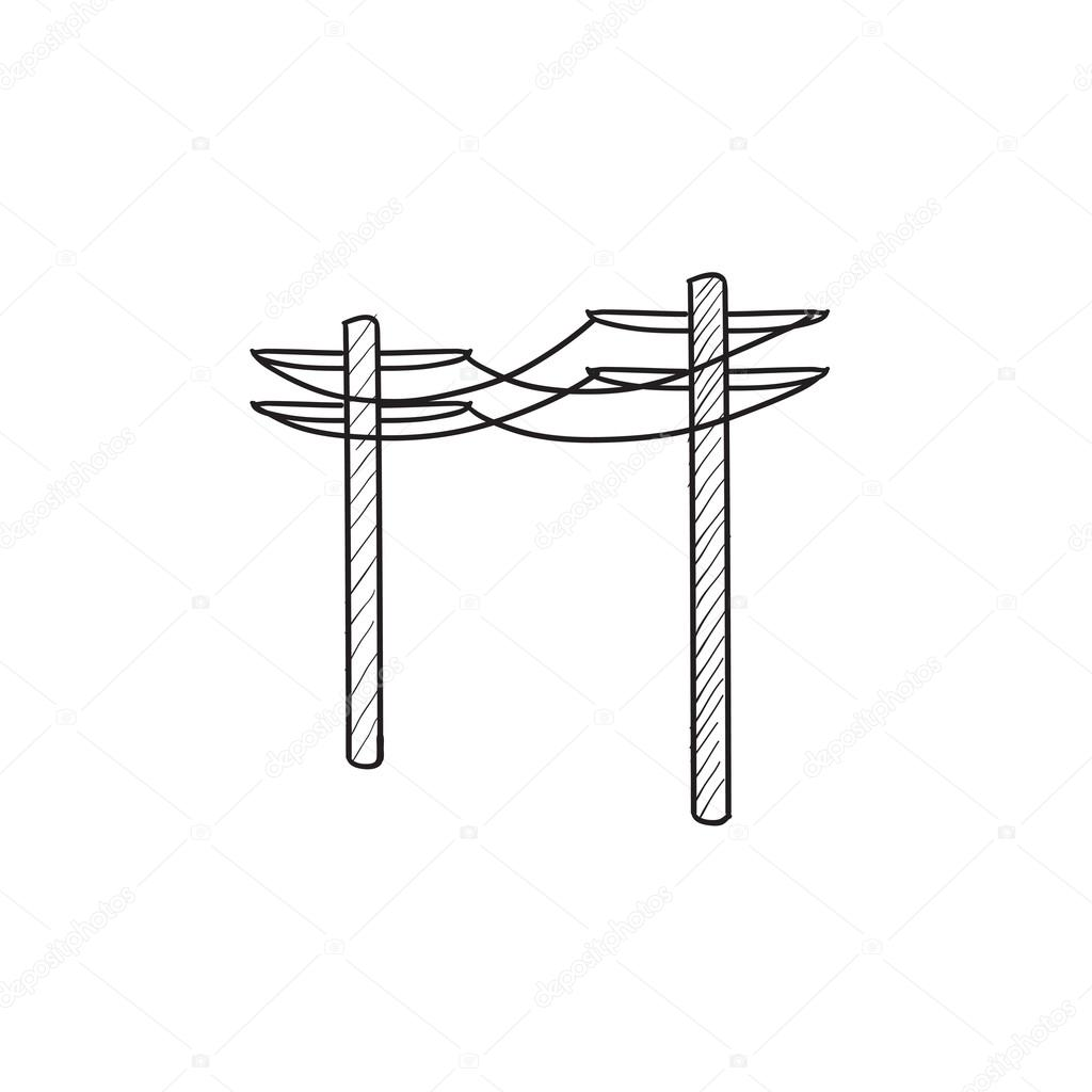 Drawn power line high voltage Icon lines lines drawn vector