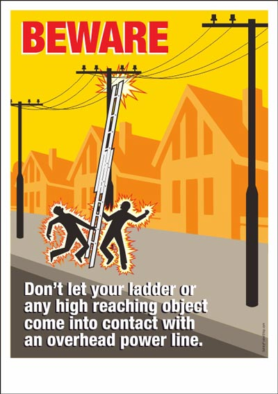Drawn power line industrial safety Safety of Posters Electrical Poster