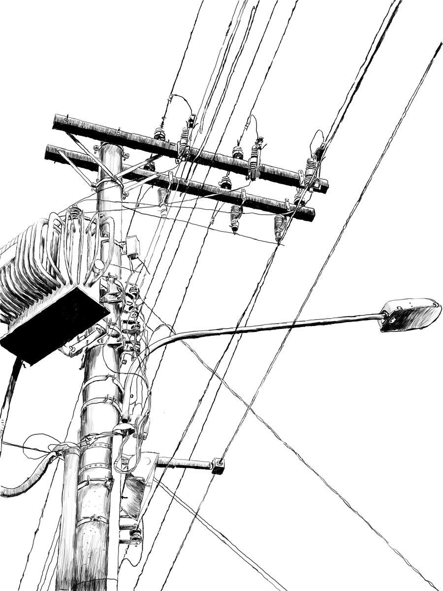 Drawn power line poste Lucas bas by Lucas Lucas